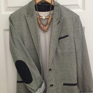 Zara Tweed Elbow Patch Blazer